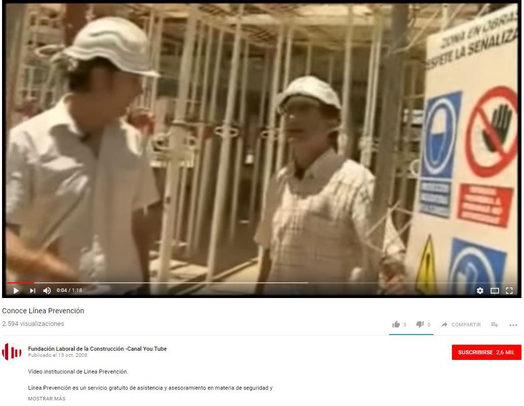 Vídeo sobre Prevención de Riesgos Laborales, en obra